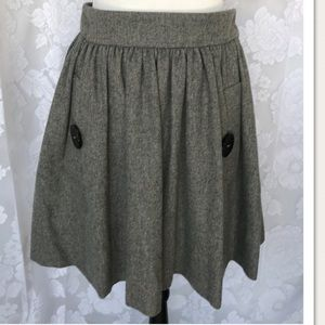Anthropologie PURR Gray Wool Cashmere Swing Skirt
